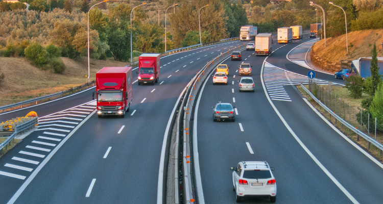 Italian motorway with mixed traffic